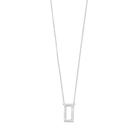 Sterling Silver Diamond Rectangle Necklace