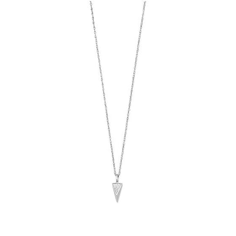 Sterling Silver Diamond Small Triangle Necklace