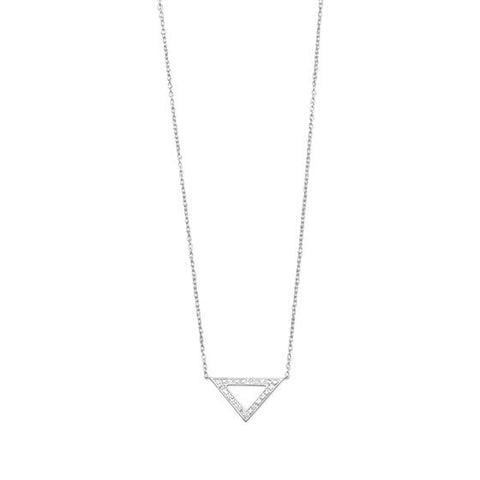 Sterling Silver Diamond Triangle Necklace