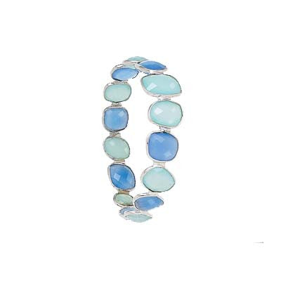 Sterling Silver Multi Faceted Chalcedony Bangle Bracelet