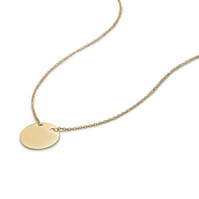 Gold Round Personalized Disc Necklace