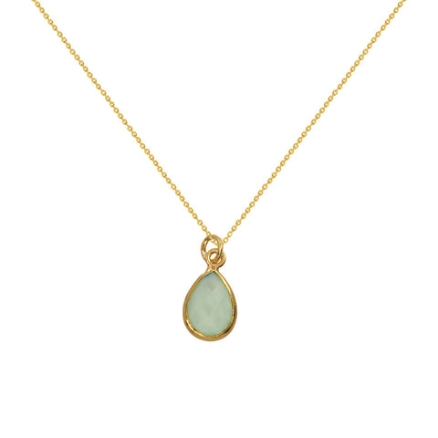 Gold Small Pear Shape Gemstone Necklaces