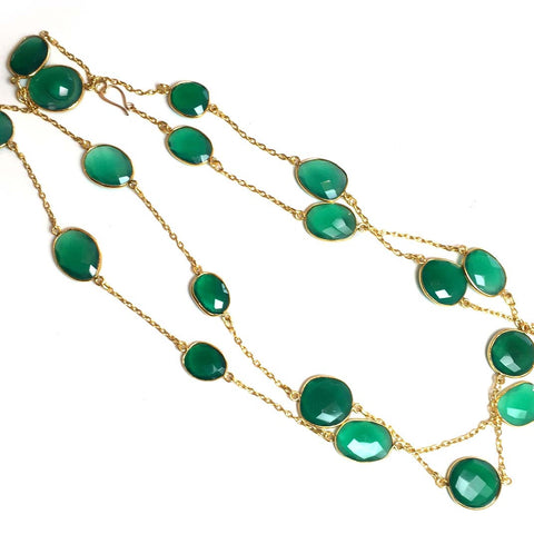 Gold Green Onyx Long Necklace