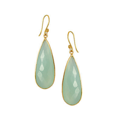Gold Tear Drop Faceted Stone Earrings