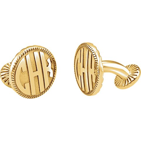 Mens Custom Monogram  Rope Edge Cuff Links