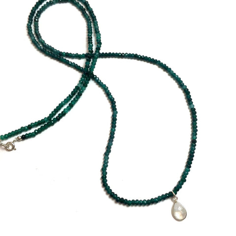 Green Agate Bead Necklace with Teardrop Moonstone
