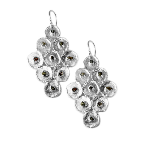Diamond Shape Raw Detail Dangle Earring