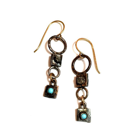 Sterling Silver Raw Diamond Turquoise Dangle Earrings