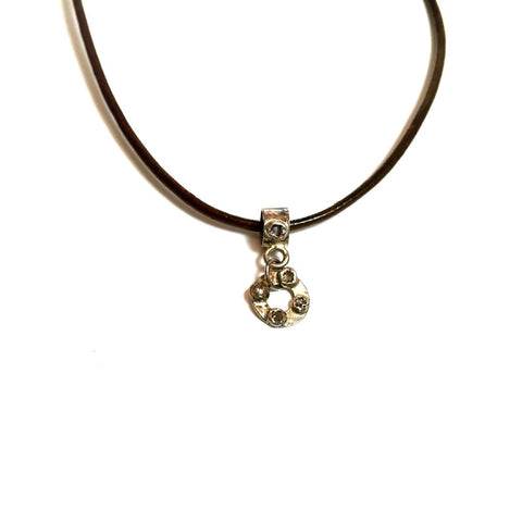 Raw Diamond and Leather Necklace