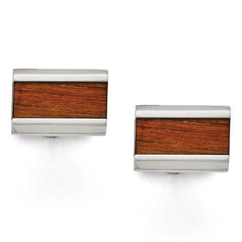 Mens Stainless Steel Wood Cuff Links