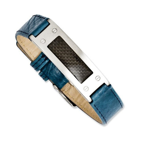 Mens Blue Leather Carbon Fiber Stainless Steel Bracelet