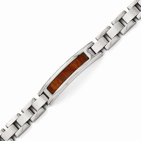 Mens Stainless Steel Link Wood Bracelet