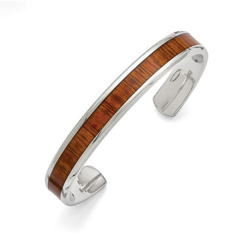 Mens Leather Stainless Steel Wood Bracelet