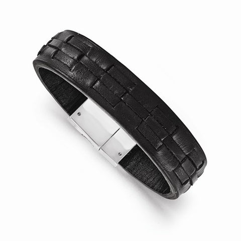 Mens Black Woven Leather Bracelet