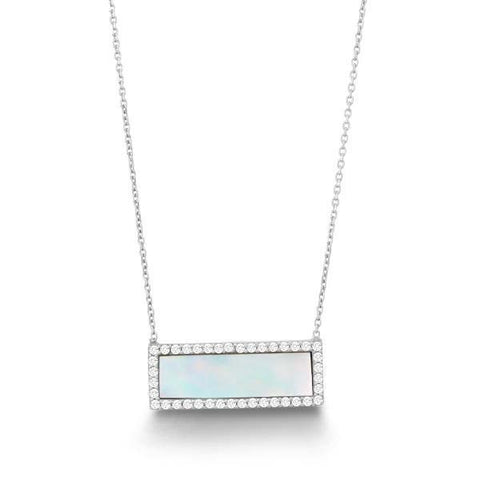 Mother of Pearl Halo Bar Necklace