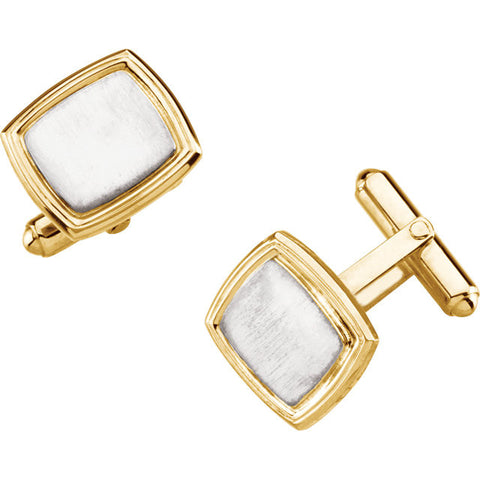 Mens Two Tone Square Cuff Links
