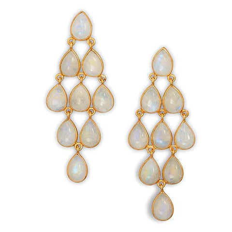 Gold Moonstone Dangle Earrings