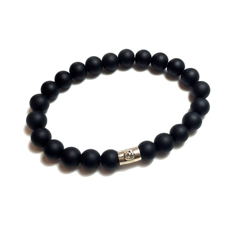 Onyx Bead Raw Diamond Bracelet