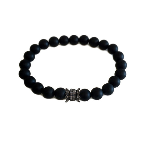 Onyx Pave Diamond Fluted Barrel Bracelet
