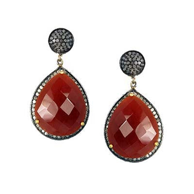 Pave Diamond Carnelian Dangle Earring