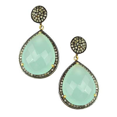 Pave Diamond Chalcedony Dangle Earrings