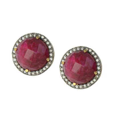 Pave Diamond Round Ruby  Studs