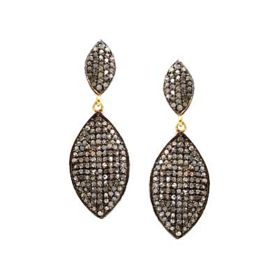 Pave Diamond Double Eye Dangle Earrings