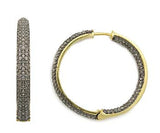 Pave Diamond Gold Hoop Earrings