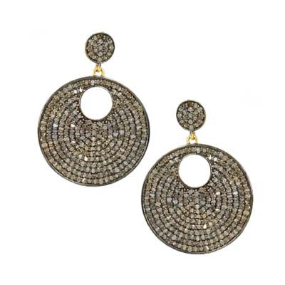 Pave Diamond Double Round Dangle Earrings