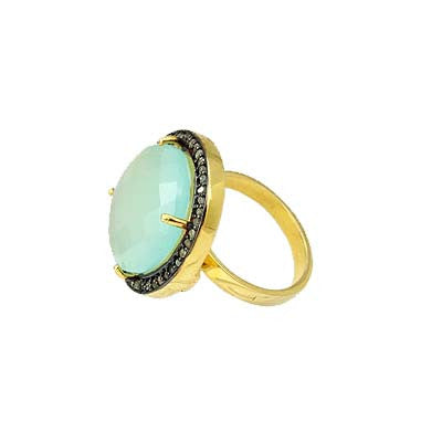 Pave Diamond Round Chalcedony Ring