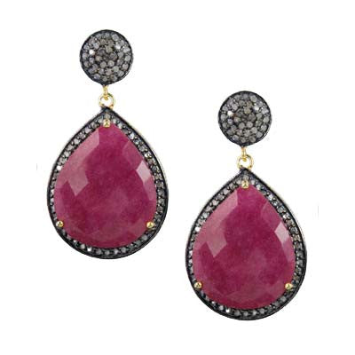 Pave Diamond Ruby Dangle Earrings