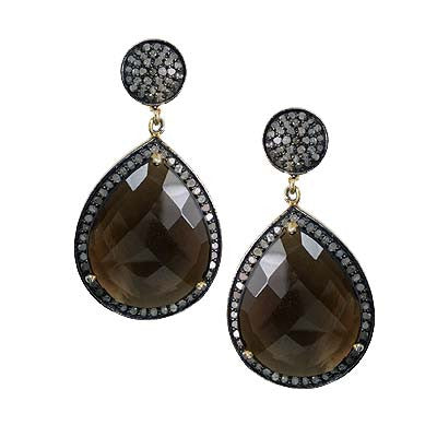 Pave Diamond Smoky Quartz Dangle Earrings