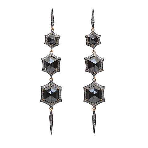 Pave Diamond Spinel Dangle Earrings