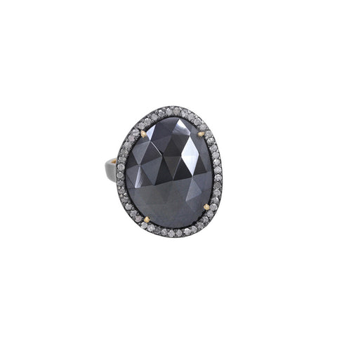 Pave Diamond Faceted Spinel Ring