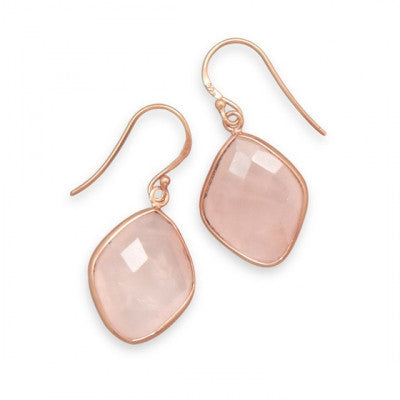 Faceted Rose Quartz Rose Gold Dangle Earrings