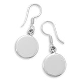 Silver Round Personalized Tag Dangle Earrings