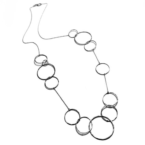 Round Hammered Links Asymmetrical Long Necklace