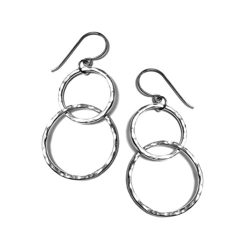 Hammered Round Link Earrings