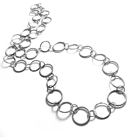 Long Hammered Textured Round Link Necklace