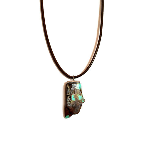 Mens Silver Turquoise Pendant on Leather Necklace
