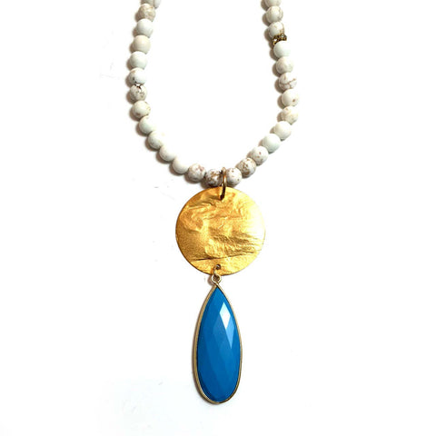White Howlite Gold Disc and Turquoise Necklace