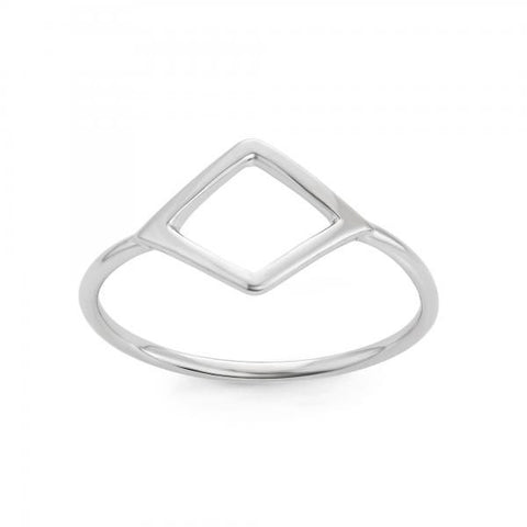 Dainty Sterling Silver Open Square Ring