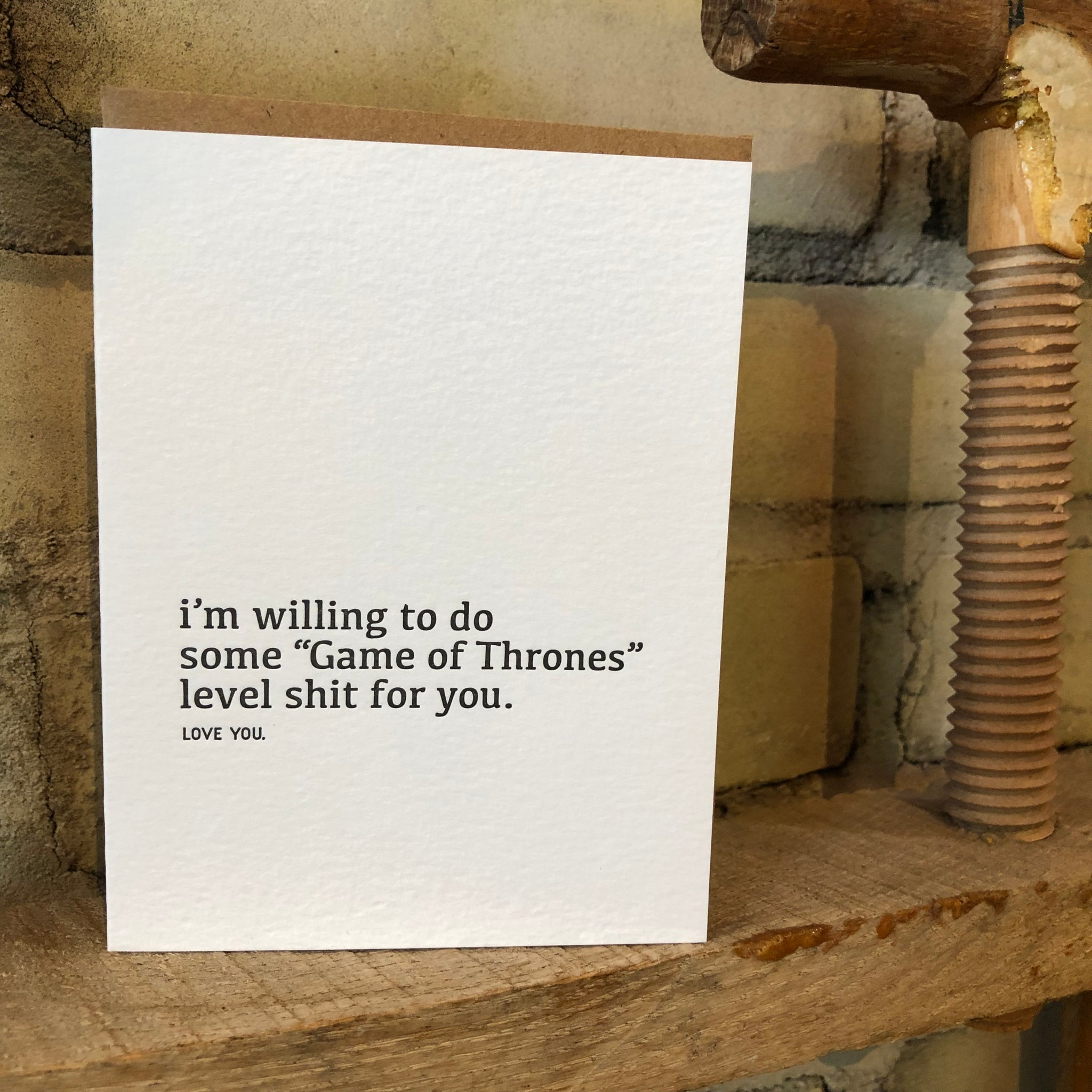 Game of Thrones Letterpress Greeting Card by Sapling Press - Upstate MN
