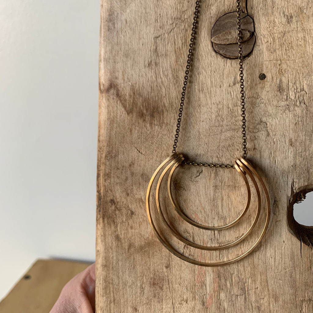 14k Gold Fill Triple Ring Necklace by Jovy Rockey