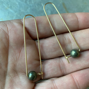 14k Gold Fill and Stone Earrings by Jovy Rockey