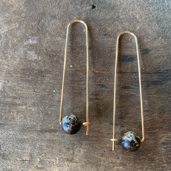 14k Gold Filled Arch Earrings with Black Sediment Jasper Beads by Jovy Rockey - Upstate MN