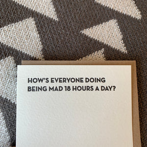 18 hours Letterpress Greeting Card by Sapling Press