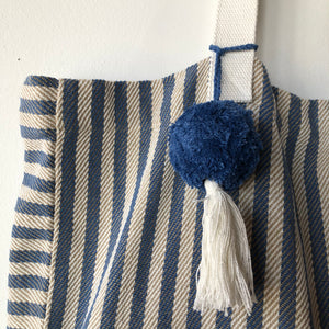 Beach Tote Bag with Light Blue and Gold Stripe - Upstate MN