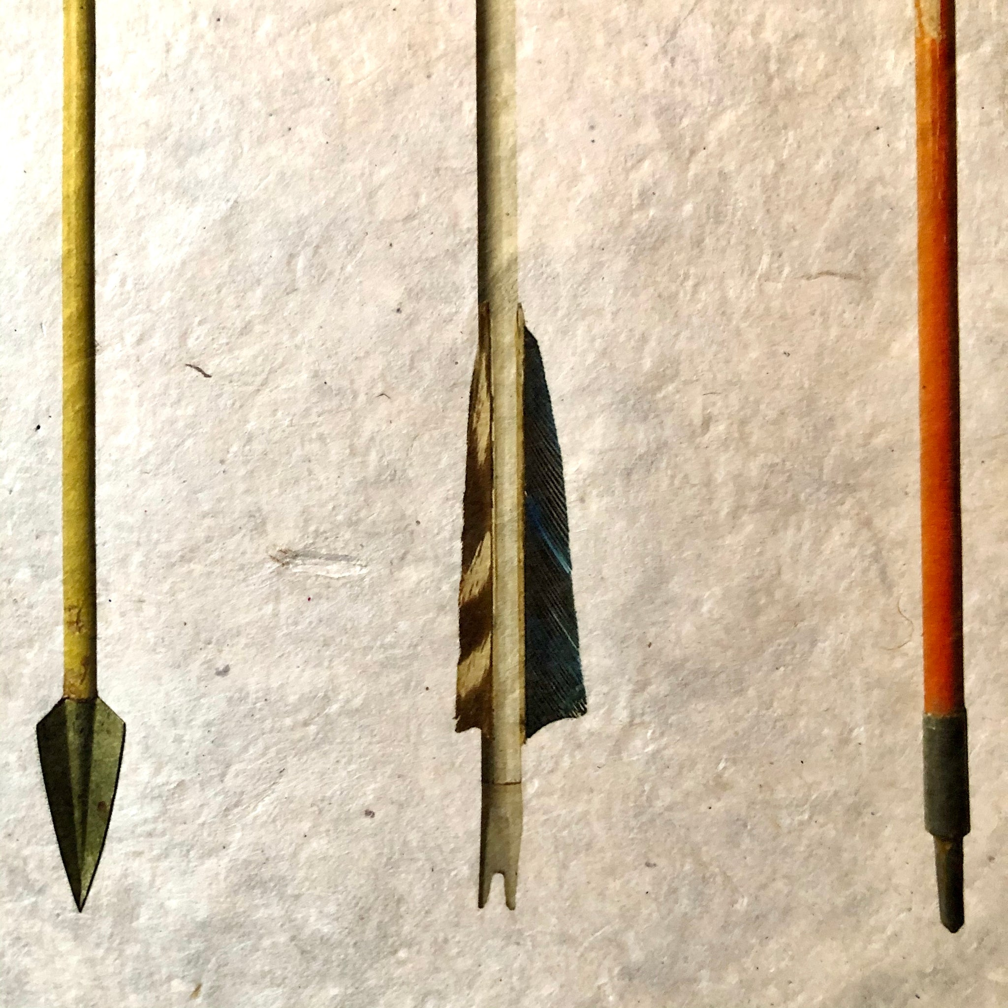 Vintage Arrow Study Number 2 on Handmade Paper by Barloga Studios - Upstate MN