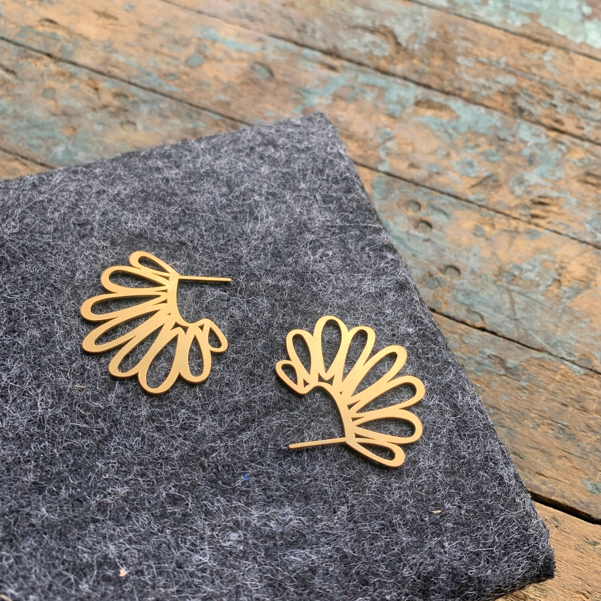 22 Carat Gold Plate Amulet Earrings by Insync Design - Upstate MN